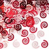 Classic Red Swirls Confetti sold in quantities of 0.5 oz / pkg, 12 pkgs / case