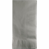 Touch of Color Shimmering Silver 2 Ply Dinner Napkins in quantities of 50 / pkg, 12 pkgs / case