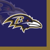 Purple and gold Baltimore Ravens Beverage Napkins are sold 16 / pkg, 12 pkgs / case