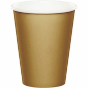 Touch of Color Glittering Gold 9 oz Hot & Cold Cups in quantities of 24 / pkg, 10 pkgs / case
