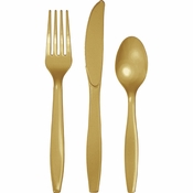 Touch of Color Glittering Gold Assorted Plastic Cutlery in quantities of 24 / pkg, 12 pkgs / case
