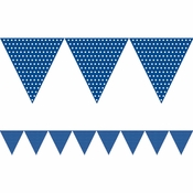 Blue Polka Dots Paper Flag Banners sold in quantities of 1 / pkg, 6 pkgs / case