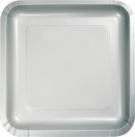 Touch of Color Shimmering Silver Square Dessert Plates in quantities of 18 / pkg, 10 pkgs / case