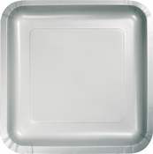 Touch of Color Shimmering Silver Square Dinner Plates in quantities of 18 / pkg, 10 pkgs / case