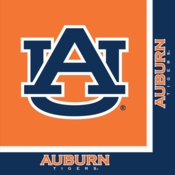 Blue and orange Auburn University Luncheon Napkin sold in quantities of 20 / pkg, 12 pkgs / case