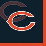 Orange and blue Chicago Bears Beverage Napkins are sold 16 / pkg, 12 pkgs / case
