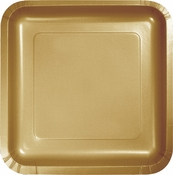 Touch of Color Glittering Gold Square Dessert Plates in quantities of 18 / pkg, 10 pkgs / case