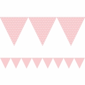 Pink Polka Dots Paper Flag Banners are sold in quantities of 1 / pkg, 6 pkgs / case