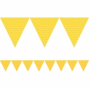Yellow Polka Dots Paper Flag Banners sold in quantities of 1 / pkg, 6 pkgs / case