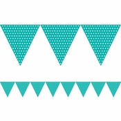 Teal Lagoon Polka Dot Flag Banners 6 ct