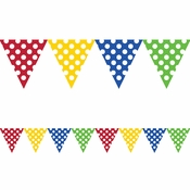 Multicolor Polka Dot Flag Banners 6 ct