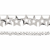 Silver Stars Garland measures 9 feet x 2.5 inches and is sold in quantities of 1 / pkg, 12 pkgs / case