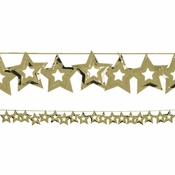 Gold Stars Garland measures 9 feet x 2.5 inches and is sold in quantities of 1 / pkg, 12 pkgs / case
