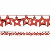 Red Stars Garland measures 9 feet x 2.5 inches and is sold in quantities of 1 / pkg, 12 pkgs / case