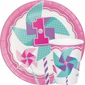 1st Birthday Pinwheel Girl Tableware