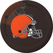 Orange and brown Cleveland Browns Dinner Plates are sold 8 / pkg, 12 pkgs / case