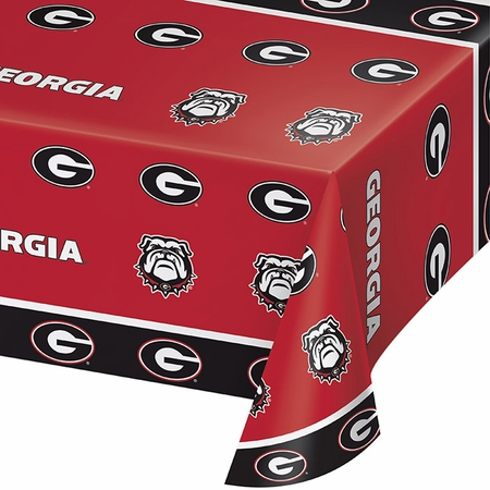 Red and black University of Georgia Tablecloths sold in quantities of 1 / pkg, 12 pkg / case
