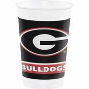 Red and black University of Georgia 20 oz Plastic Cups sold in quantities of 8 / pkg, 12 pkg / case