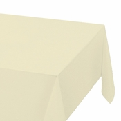 "Ivory Plastic Tablecloths measures 54"" x 108"" sold in quantities of 1 / pkg, 12 pkgs / case"
