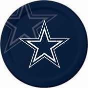 Blue and silver Dallas Cowboys Dinner Plates are sold 8 / pkg, 12 pkgs / case