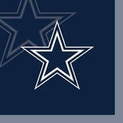 Blue and silver Dallas Cowboys Beverage Napkins are sold 16  / pkg, 12 pkgs / case