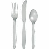 Touch of Color Shimmering Silver Assorted Plastic Cutlery in quantities of 24 / pkg, 12 pkgs / case