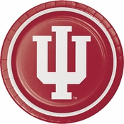 Red and white Indiana University Dinner Plate sold in quantities of 8 / pkg, 12 pkgs / case