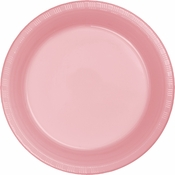 Touch of Color Classic Pink Plastic Banquet Plates in quantities of 20 / pkg, 12 pkgs / case