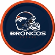 Blue and orange Denver Broncos Dessert Plates are sold 8 / pkg, 12 pkgs / case