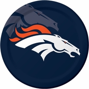 Blue and orange Denver Broncos Dinner Plates are sold 8 / pkg, 12 pkgs / case