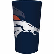 Blue and orange Denver Broncos 22 oz Plastic Stadium Cups are sold  1 / pkg, 20 pkgs / case
