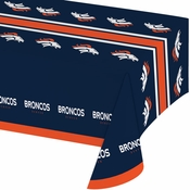 Blue and orange Denver Broncos Tablecloths are sold 1 / pkg, 12 pkgs / case