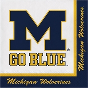 Blue and yellow of Michigan Luncheon Napkin sold in quantities of 20 / pkg, 12 pkg / case