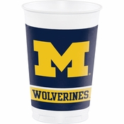 Blue and yellow University of Michigan 20 Ounce Plastic Cup sold in quantities of 8 / pkg, 12 pkg / case