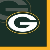 Green and gold Green Bay Packers Beverage Napkins are sold 16  / pkg, 12 pkgs / case