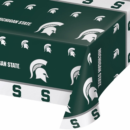 Green and white Michigan State Tablecloths sold in quantities of 1 / pkg, 12 pkg / case