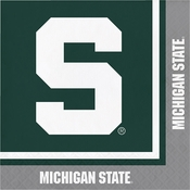 Green and white Michigan State Luncheon Napkins sold in quantities of 20 / pkg, 12 pkg / case