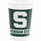 Green and white Michigan State 20 Ounce Plastic Cup sold in quantities of 8 / pkg, 12 pkg / case