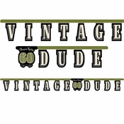 "Vintage Dude Party Banner ""60"" 12 ct"