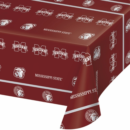 Maroon and white Mississippi State Tablecloths sold in quantities of 1 / pkg, 12 pkgs / case