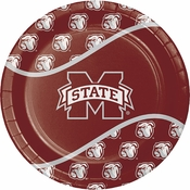 Maroon and white Mississippi State Dinner Plate sold in quantities of 8 / pkg, 12 pkgs / case