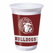Maroon and white Mississippi State 20 oz Plastic Cup sold in quantities of 8 / pkg, 12 pkgs / case