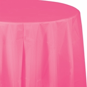 Touch of Color Candy Pink Octy-Round Plastic Tablecloths in quantities of 1 / pkg, 12 pkgs / case
