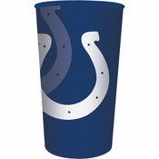 Blue and white Indianapolis Colts 22 oz Plastic Stadium Cups sold in quantities of 1 / pkg, 20 pkgs / case