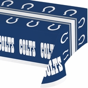 Blue and white Indianapolis Colts Tablecloths sold in quantities of 1 / pkg, 12 pkgs / case