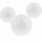 White Tissue Fans sold in quantities of 3 / pkg, 6 pkgs / case