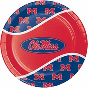 Crimson and blue Ole Miss Dinner Plate in quantities of 8 per pkg / 12 pkgs per case