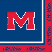 Crimson and blue Ole Miss Luncheon Napkin in quantities of 20 per pkg / 12 pkgs per case