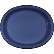 Navy Oval Platters sold in quantities of 8 / pkg, 12 pkgs / case.