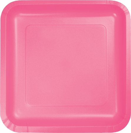 Touch of Color Candy Pink Square Dessert Plates in quantities of 18 / pkg, 10 pkgs / case